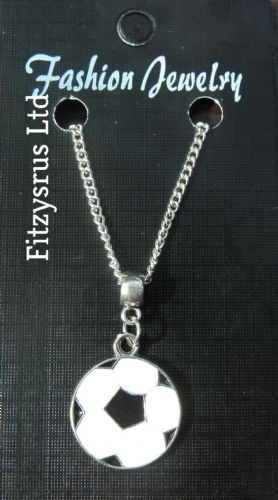 "18"" 24"" Inch Chain Necklace & Football Pendant  - Soccer Charm Gift Souvenir New"